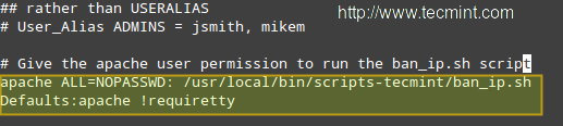 Add Apache User to Sudoers