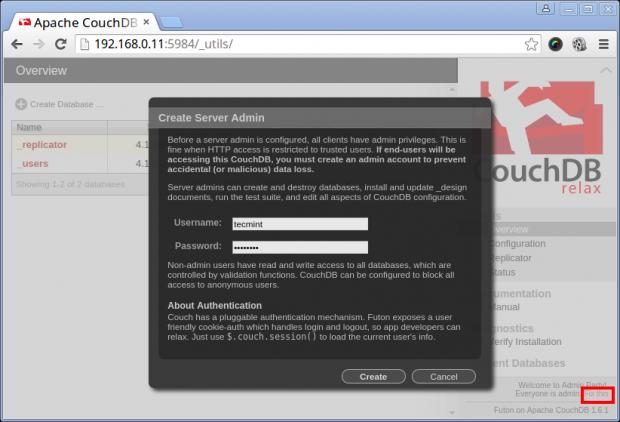 Create CouchDB Admin User