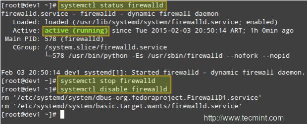 Disable Firewalld Service in CentOS 7