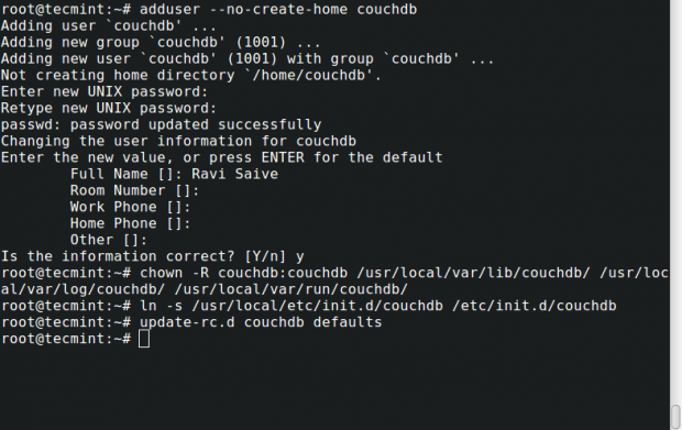 Setup CouchDB on Debian