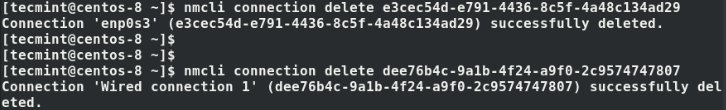 Delete Active Network Interfaces