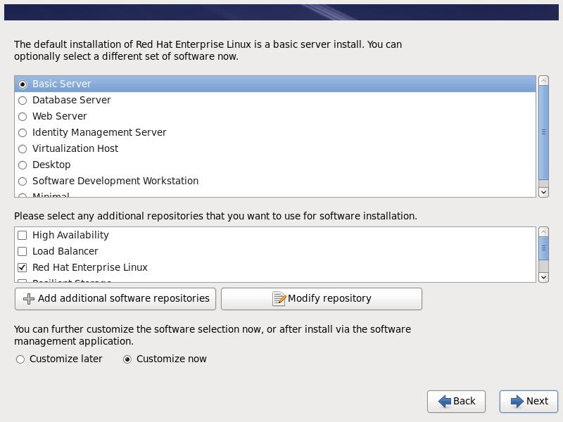 RHEL 6.10 Basic Server Install