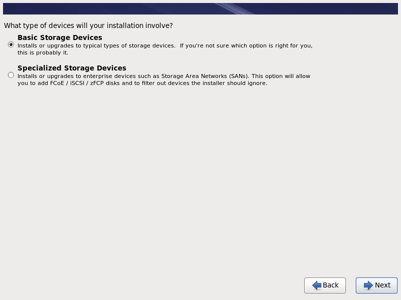 Select RHEL 6.10 Installation Storage Device