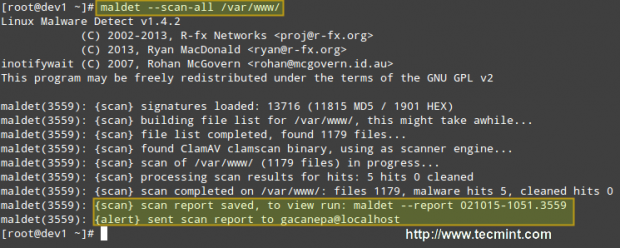 Scan Linux Malware Detect in Linux