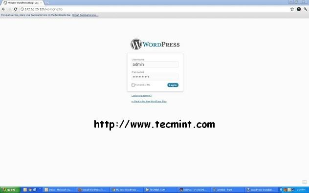 Enter WordPress Login Details