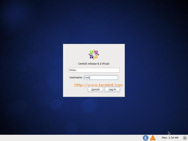 CentOS 6.3 Login Screen