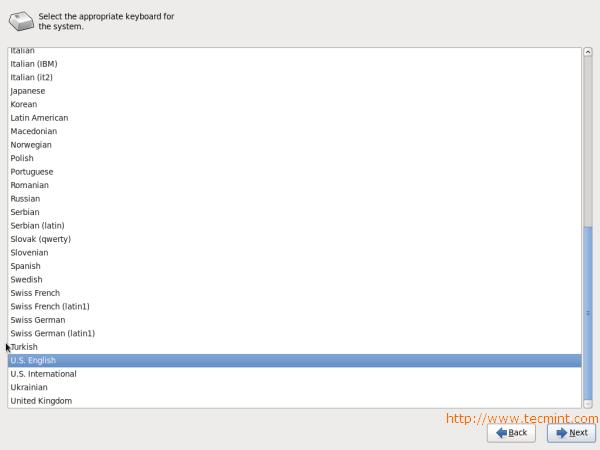 CentOS 6.3 Keyboard Selection