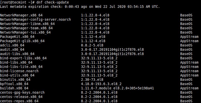 Check CentOS 8 Updates