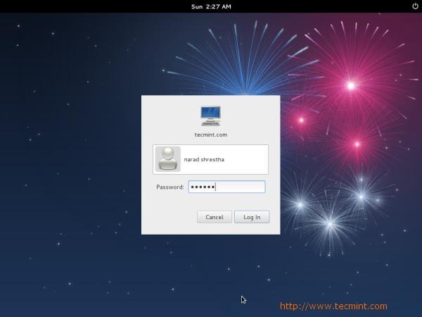 Fedora 17 Login Screen