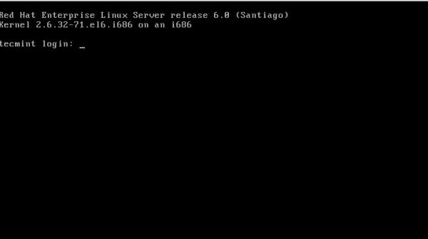 RHEL 6 Login Screen