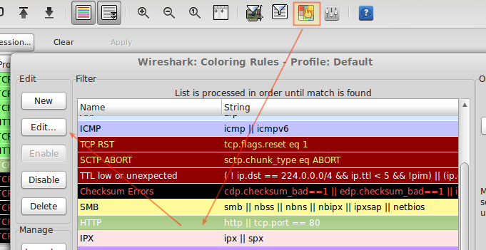 Customize Wireshark Output in Colors