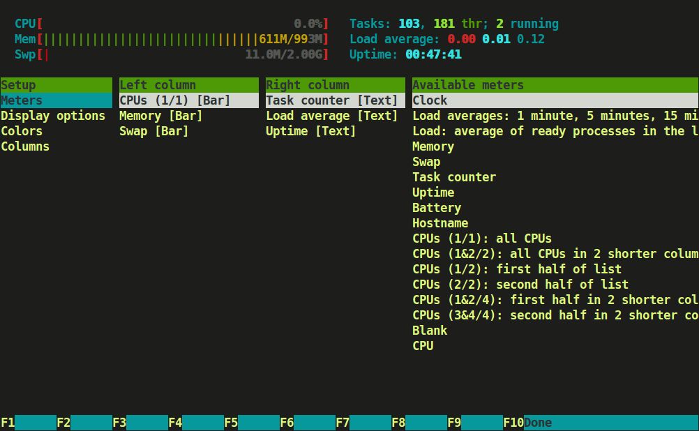 Htop Setup Screen