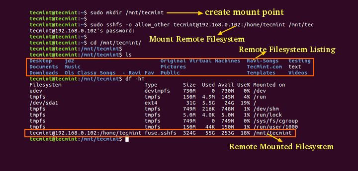 Sshfs Mount Remote Linux Filesystem or Directory
