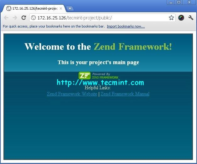 Zend Framework Welcome Screen