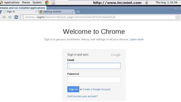 Google Chrome Welcome Screen