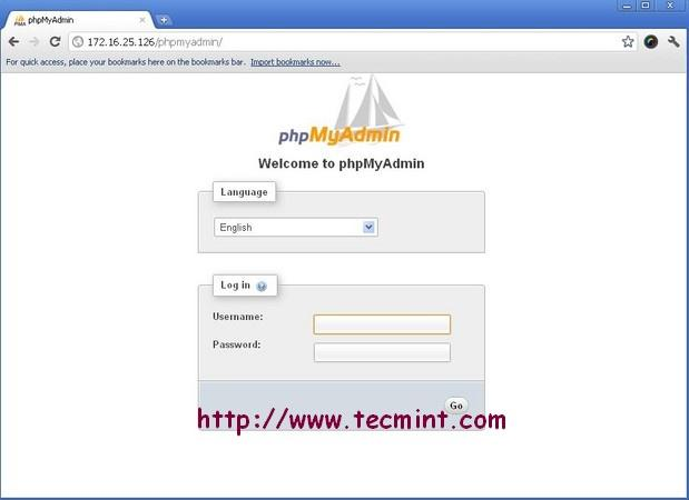 PhpMyAdmin Welcome Screen in Apache