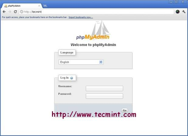 PhpMyAdmin Welcome Screen in Nginx