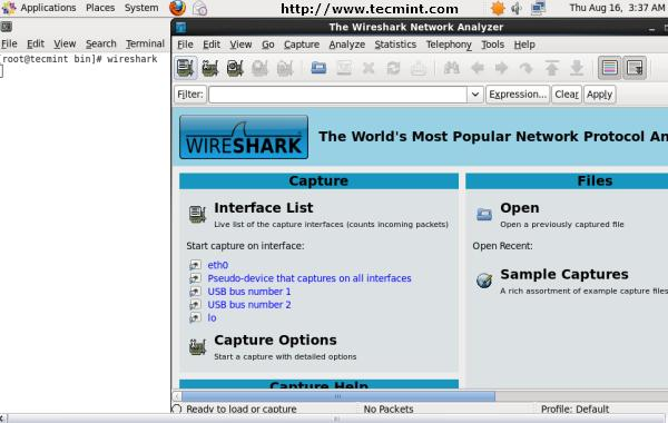 Wireshark Welcome Screen