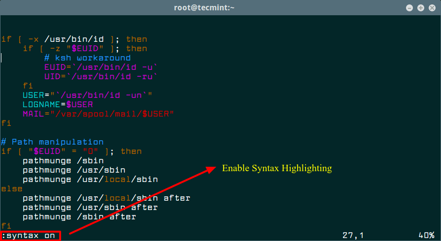 Enable Syntax Highlighting in Vi Editor