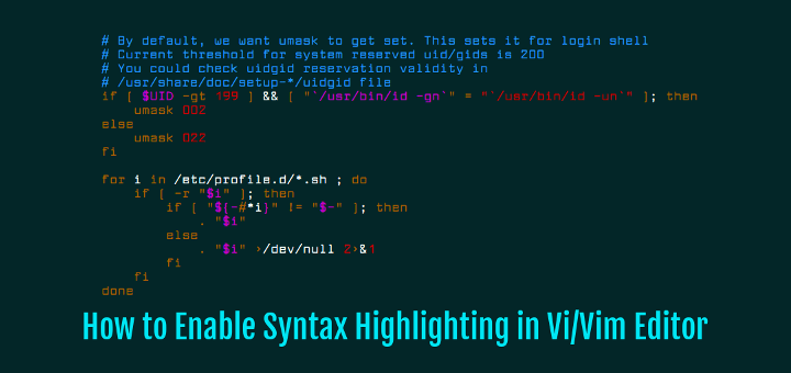 Enable Syntax Highlighting in Vi Linux