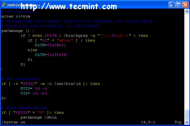 Turn On VI Syntax Highlighting