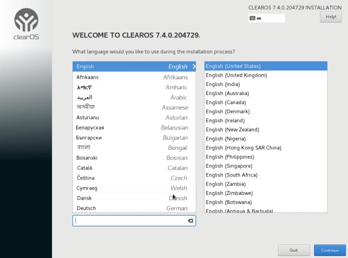 ClearOS Installation Language