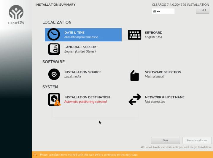 ClearOS Installation Summary