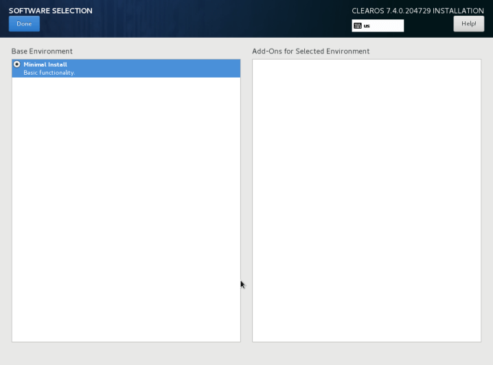 ClearOS Minimal Installation