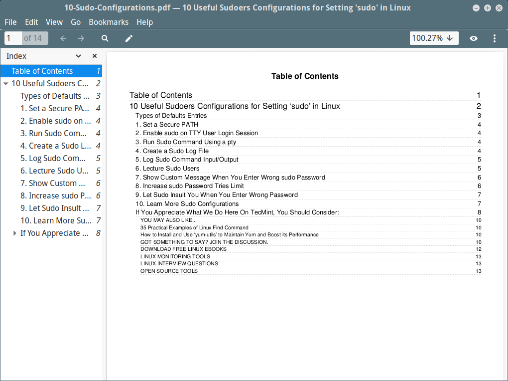 Create Website Page to Table of Contents in PDF