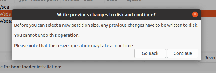 Accept Partition Changes