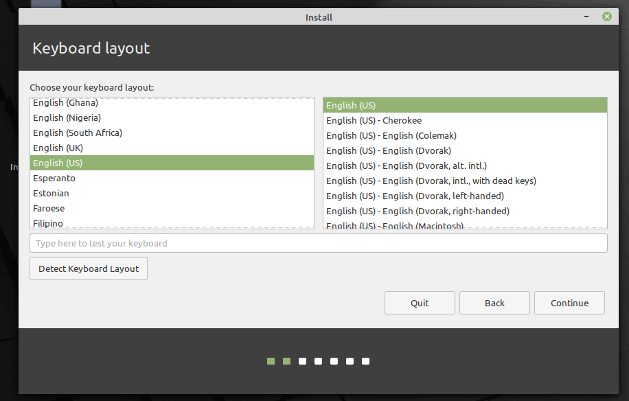 Choose Linux Mint 20 Keyboard Layout