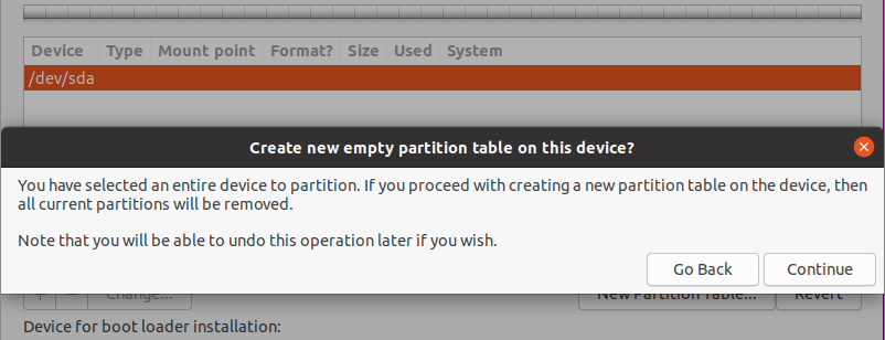 Create New Empty Partition Table