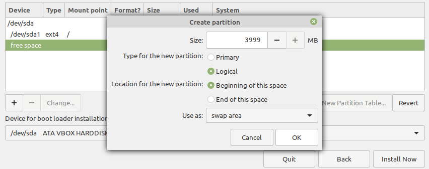 Create a Swap Partition