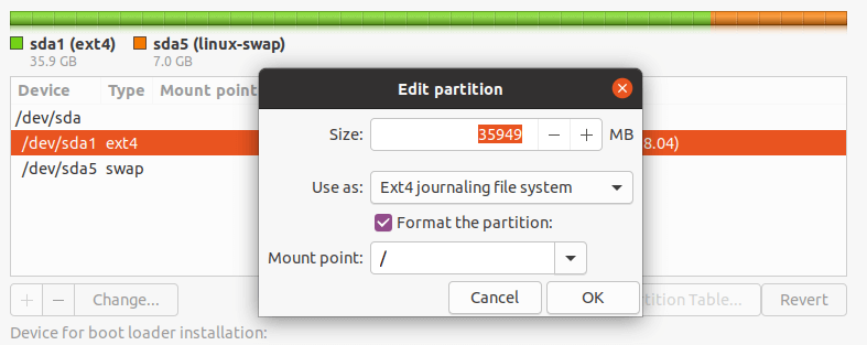 Edit Partition for Ubuntu Installation