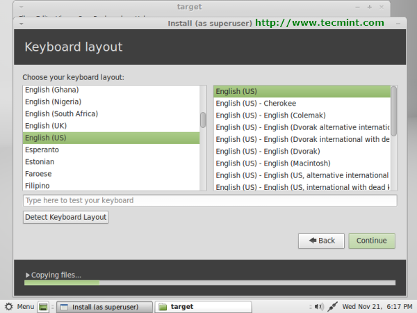 Linux Mint 13 Keyboard Selection