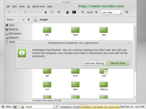 Linux Mint 13 Installation Completed