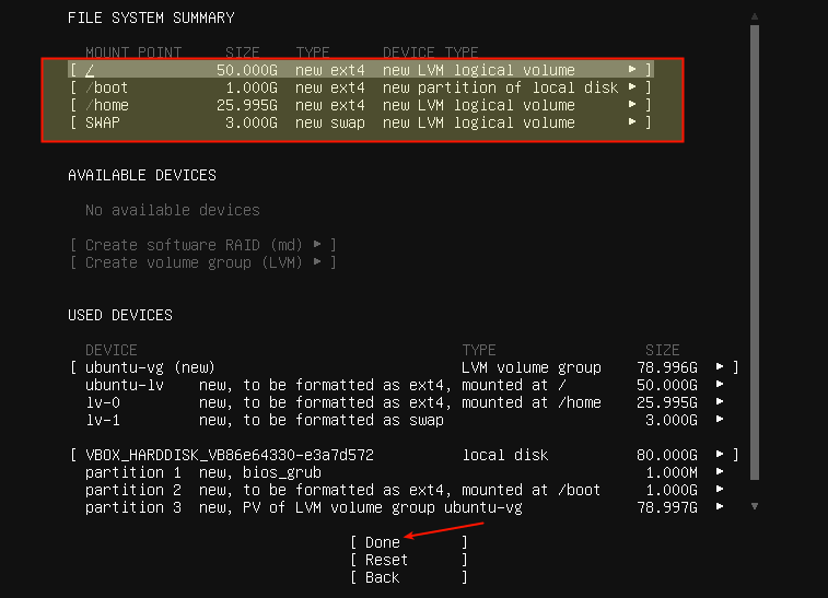 File System Partition Summary