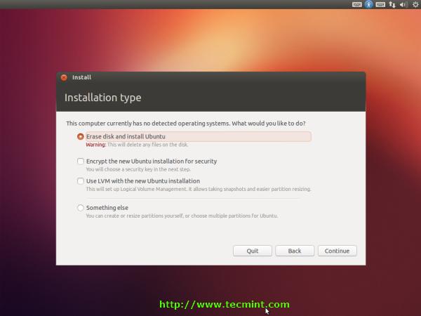 Select Ubuntu 12.10 Installation Type