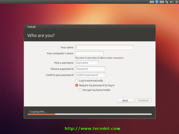 Enter Ubuntu 12.10 Information