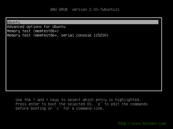 GRUB Boot Loader screen