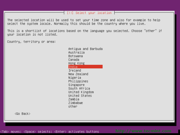 Select Ubuntu 12.10 Location