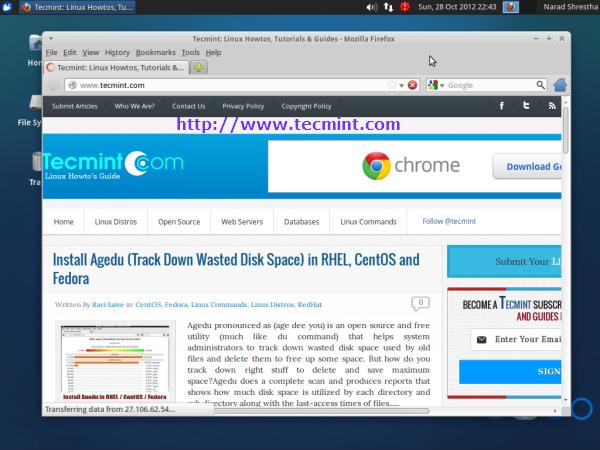 Xubuntu 12.10 Desktop Browsing