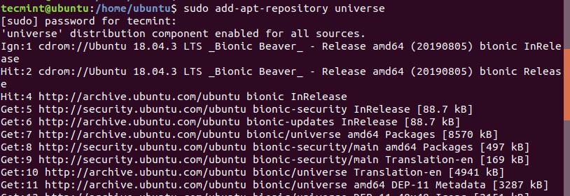 Add Universe PPA Repository