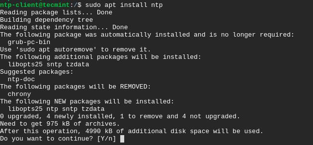 Install NTP Client on Ubuntu