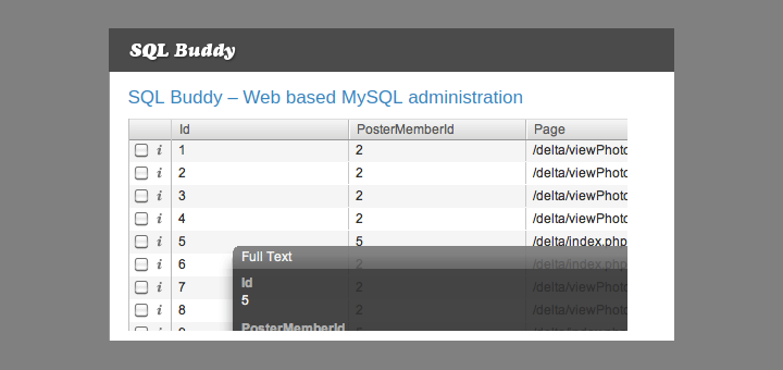 SQL Buddy - A Web Based MySQL Administration Tool