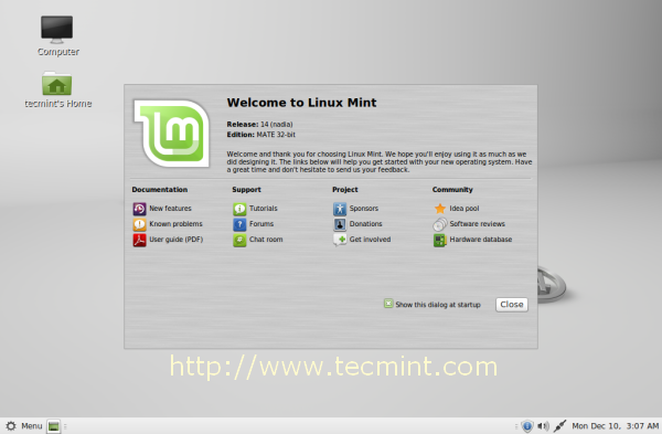 Linux Mint 14 Mate Desktop