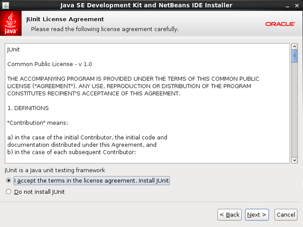 Accept the jUnit License Agreement