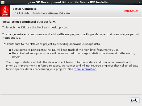 Completing NetBeans IDE installation Completes