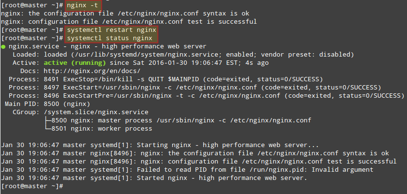 Restart Nginx and Verify Status
