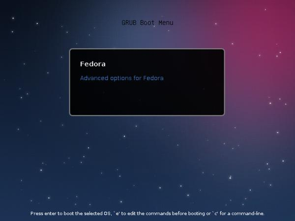 Fedora 18 Boot Loader